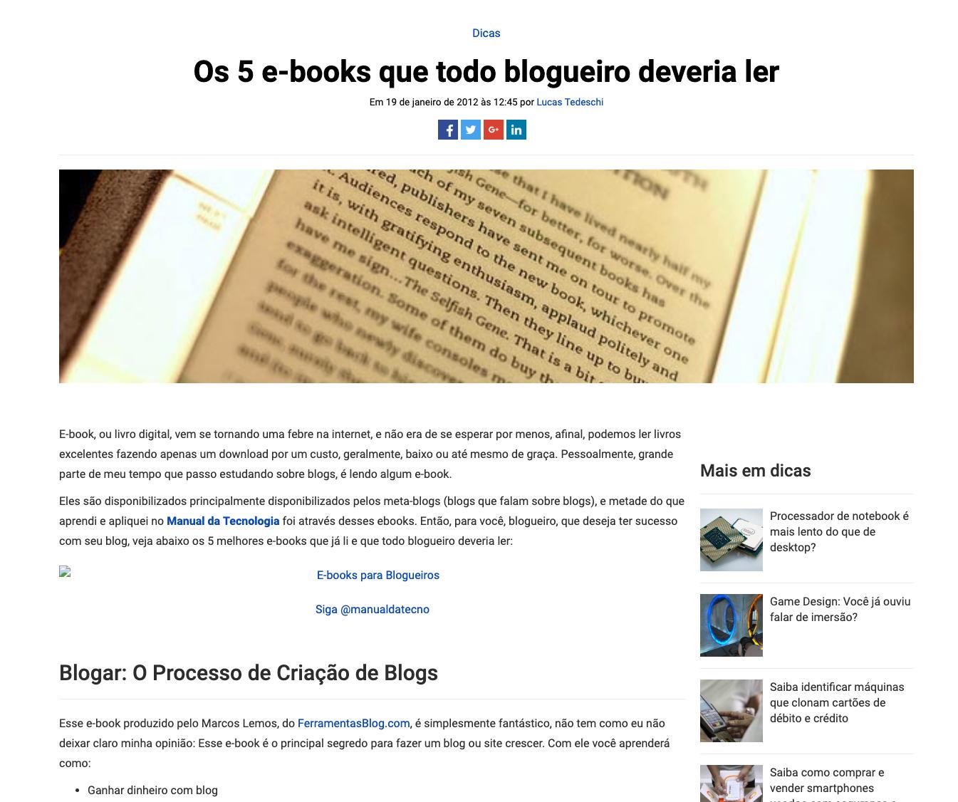 5 ebooks que todo o blogueiro devia ler