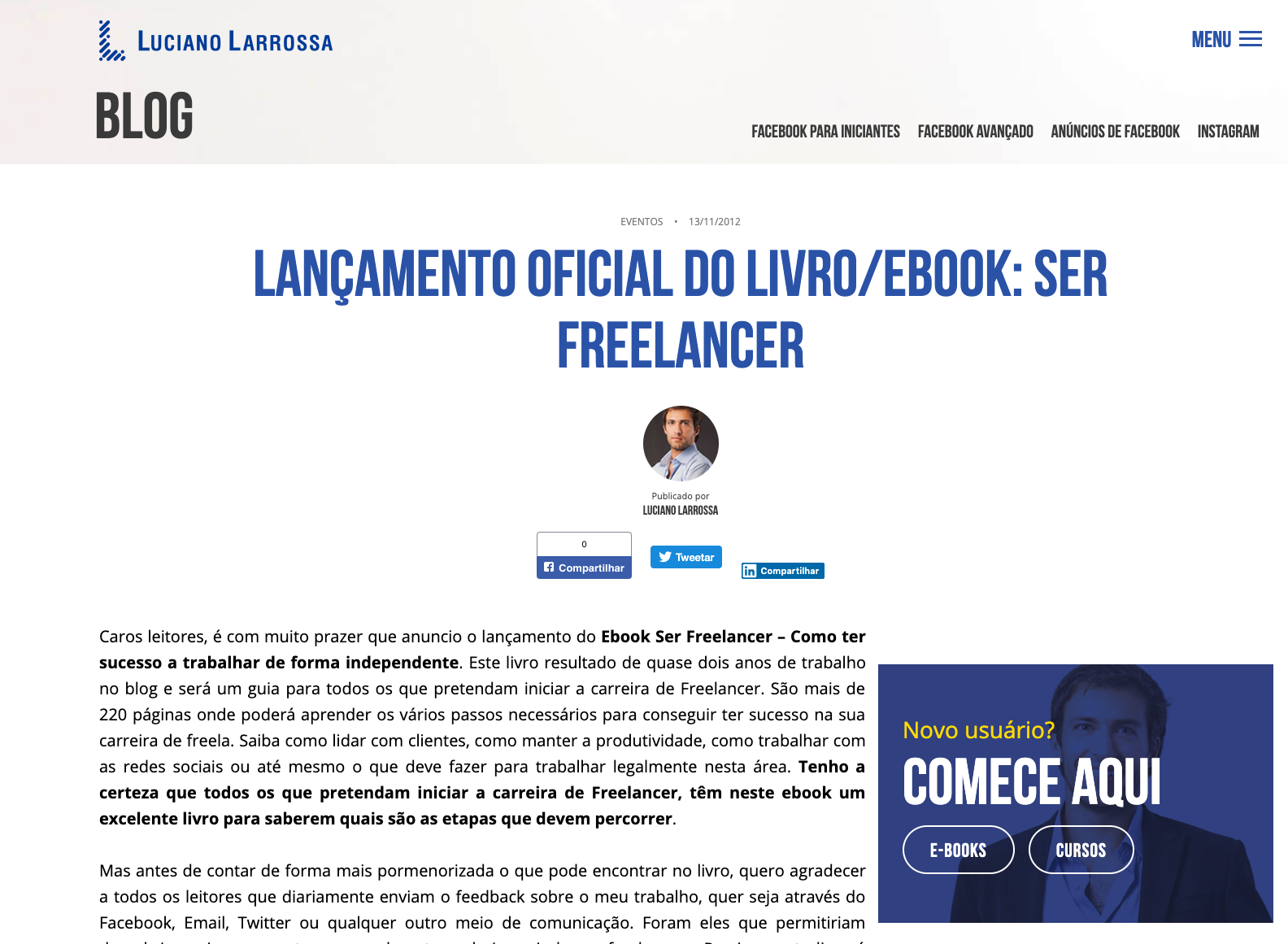 Lançamento do livro ser freelancer