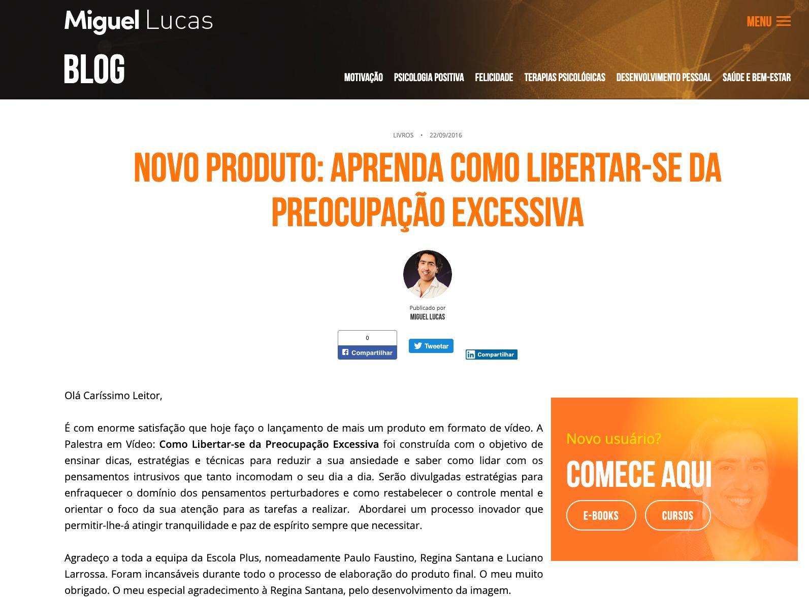 Lançamento Livro Miguel Lucas